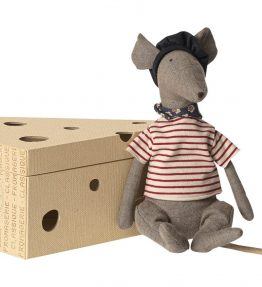 Maileg - Rat in cheese box - grey