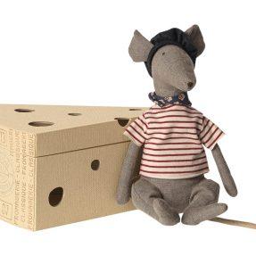 Maileg - Rat in cheese box - grey