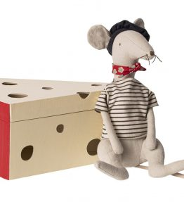 Maileg - Rat in cheese box - light grey