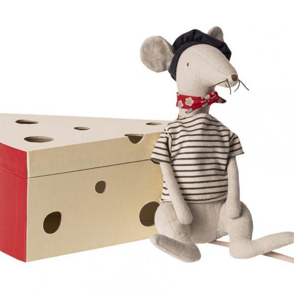 Maileg - Rat in cheese box - light grey