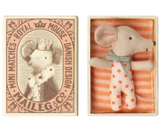 maileg - Baby mouse, Sleepy or wakey in box Girl 01