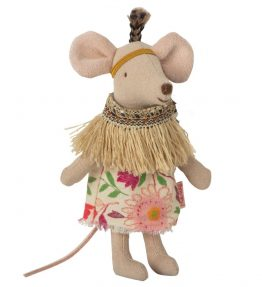 maileg - Little feather w. tent, Little sister mouse 02