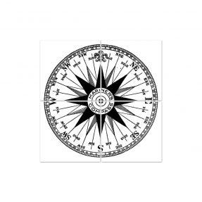 "boubouki - Fliesenaufkleber ""Com Passo Kompass"" 4er Set - 15cmx15cm"