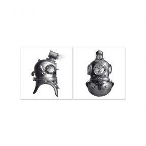 """boubouki - Fliesenaufkleber """"Helmet"""" 2er Set - 15cmx15cm"""