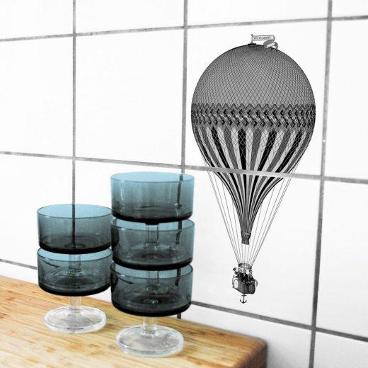 boubouki - Fliesenaufkleber - Montgolfiere Heissluftballon - 2er Set