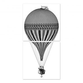 "boubouki - Fliesenaufkleber ""Montgolfiere Heissluftballon"" 2er Set - 15cmx15cm"