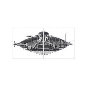 """boubouki - Fliesenaufkleber """"U-Boot Nemo"""" 2er Set - 15cmx15cm"""