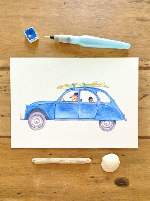 Nadine-Roeder-Illustration-Surfing-Animals-Club-Citroen-2CV