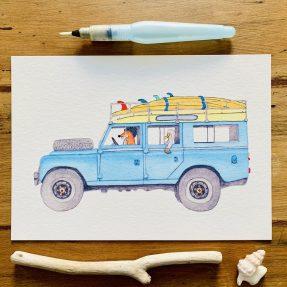 Nadine-Roeder-Illustration-Surfing-Animals-Club-Surf-Road-Trip-Land-Rover-Defender