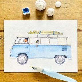 Nadine-Roeder-Illustration-Surfing-Animals-Club-Surf-Road-Trip-VW-Bus_Bulli