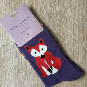 "Damen-Socken - Bamboo ""Fox & Stripes, purple"", Größe: 36 - 41"