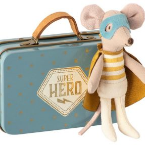 "Maileg - ""Superhero mouse"", Little brother in suitcase"