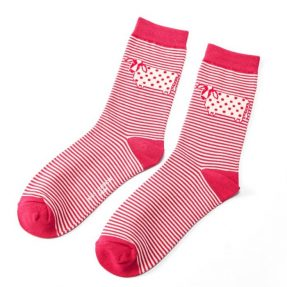 "Damen-Socken - Bamboo ""Cute Cow Stripes, red"", Größe: 36 - 41"
