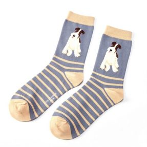 "Damen-Socken - Bamboo ""Fox Terrier Stripes, Blue"", Größe: 36 - 41"