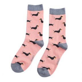 "Damen-Socken - Bamboo ""Little Sausage Dog, dusty pink"", Größe: 36 - 41"