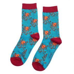 "Damen-Socken - Bamboo ""Octopus, turquoise"", Größe: 36 - 41"