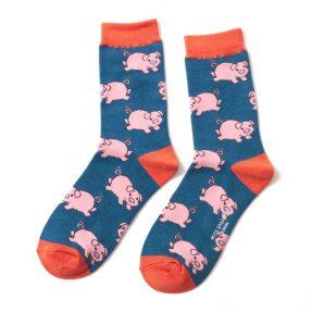 """Damen-Socken - Bamboo """"Piglets, teal"""", Größe: 36 - 41"""