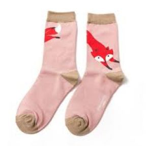"Damen-Socken - Bamboo ""Leaping Fox, dusky pink"", Größe: 36 - 41"