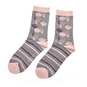 "Damen-Socken - Bamboo ""Climbing Floral, grey"", Größe: 36 - 41"