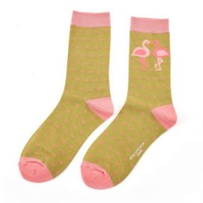 "Damen-Socken - Bamboo ""Kissing Flamingos, green"", Größe: 36 - 41"