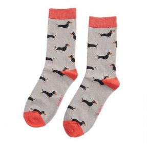 "Damen-Socken - Bamboo ""Little Sausage Dog, grey"", Größe: 36 - 41"