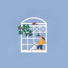 """Oda Wiedbrecht - Fensterbild """"Junge mit Hund"""""""