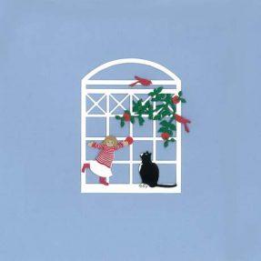 """Oda Wiedbrecht - Fensterbild """"Mädchen mit Katze"""""""