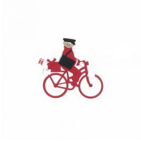 """Oda Wiedbrecht - Fensterbild """"Postbote auf Fahrrad"""""""