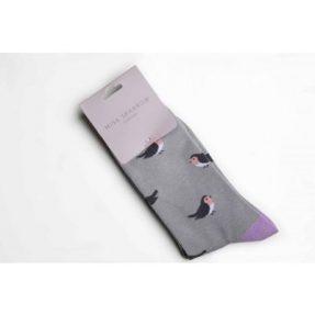 """Damen-Socken - Bamboo """"Birds, grey"""", Größe: 36 - 41"""