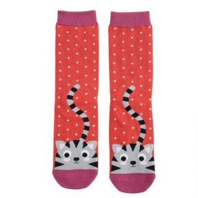 "Damen-Socken - Bamboo ""Kitty & Spots, burnt orange"", Größe: 36 - 41"