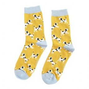 "Damen-Socken - Bamboo ""Little Dalmatians, yellow"", Größe: 36 - 41"