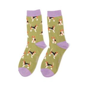 "Damen-Socken - Bamboo ""Beagle Pups, olive"", Größe: 36 - 41"