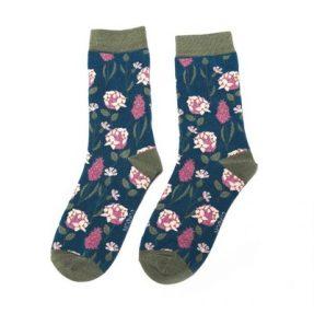 "Damen-Socken - Bamboo ""Botany, Teal"", Größe: 36 - 41"