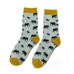 "Damen-Socken - Bamboo ""Elephants, Duck Egg"", Größe: 36 - 41"