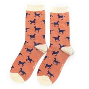 "Damen-Socken - Bamboo ""Horses, dusky pink"", Größe: 36 - 41"