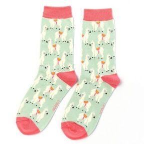 """Damen-Socken - Bamboo """"Llamas, duck egg"""", Größe: 36 - 41"""