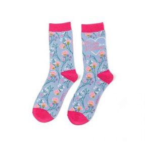 "Damen-Socken - Bamboo ""Mum in a Million, powder blue"", Größe: 36 - 41"